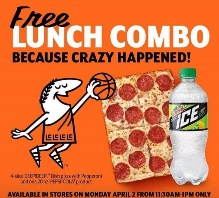FREE $5 HOT-N-READY Lunch Combo on April 2
