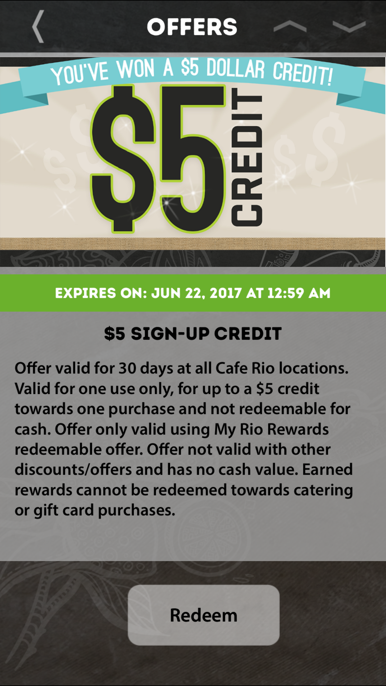 FREE $5 Credit to spend at Cafe Rio