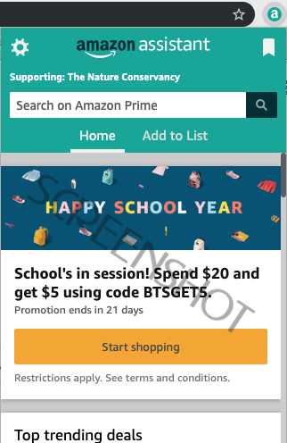 Prime Members: $5 Credit with $20 Purchase w/ Amazon Assistant Browser Extension