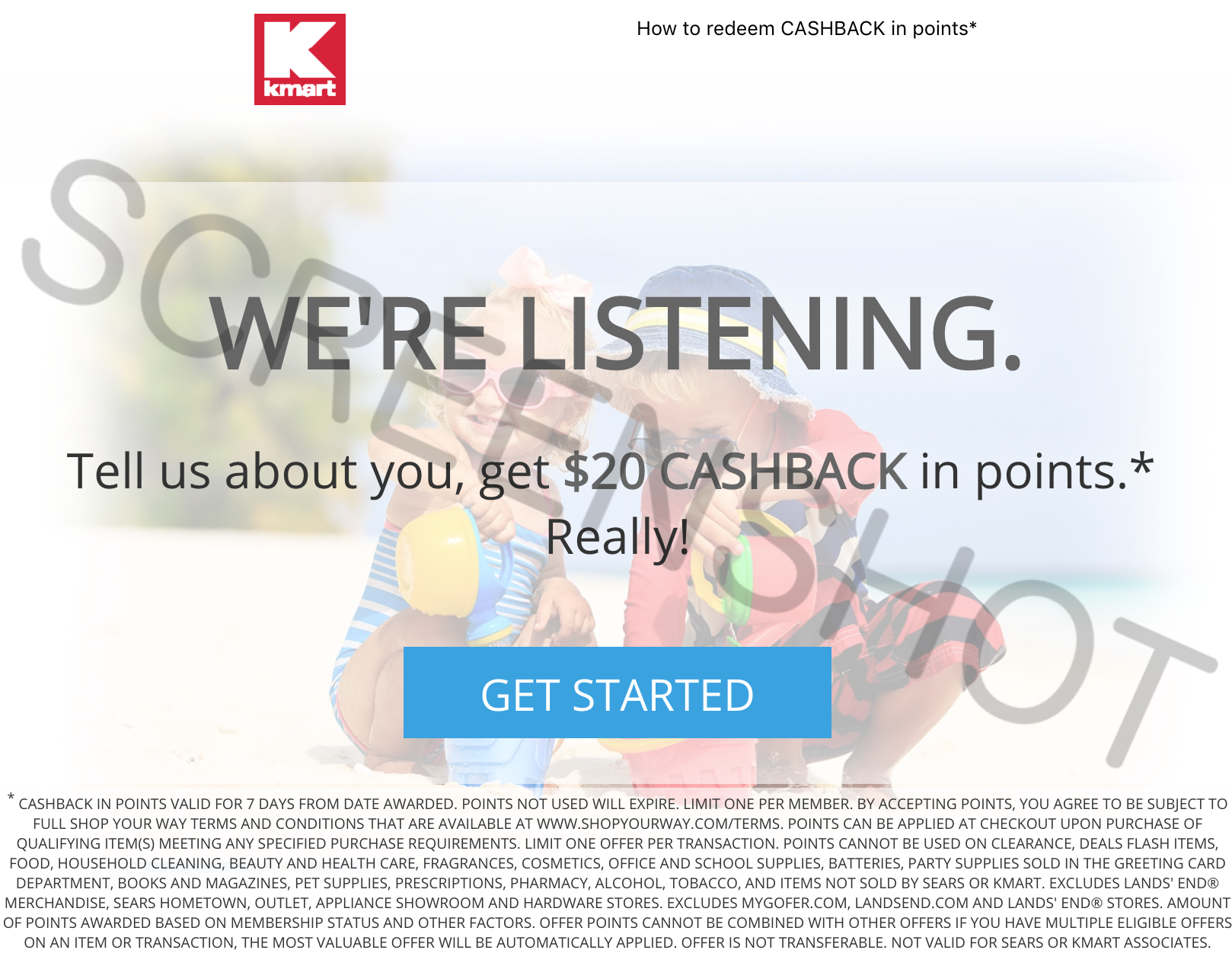 FREE $20 To Spend at Kmart or Sears