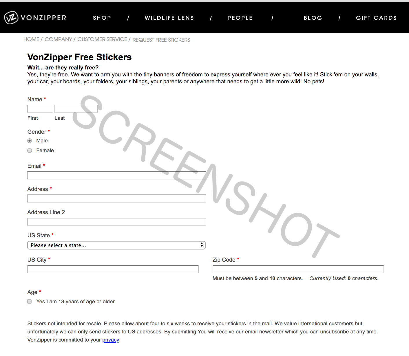 Screenshot of FREE Offer Page
