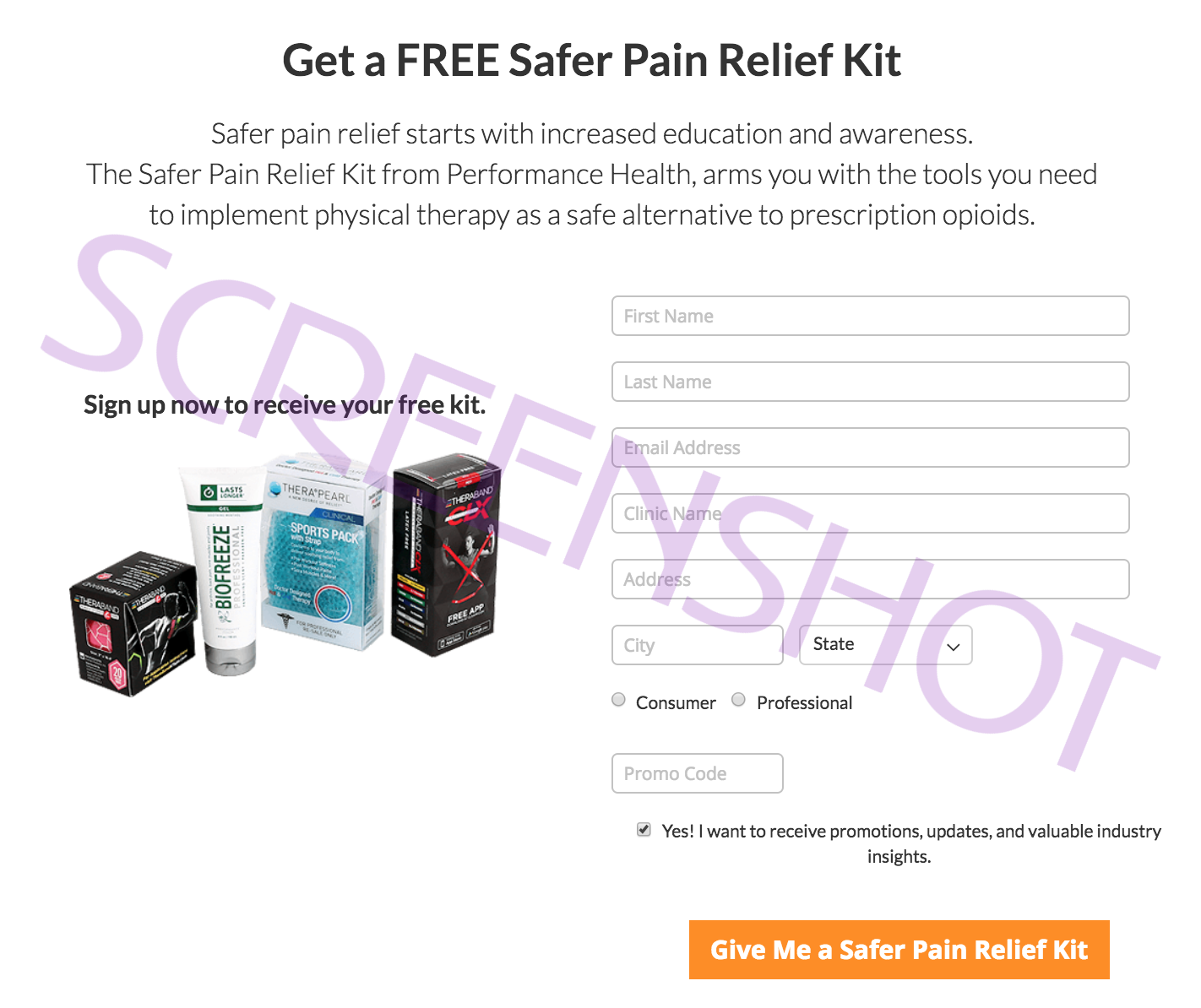 Screenshot of FREE Sample Offer Page