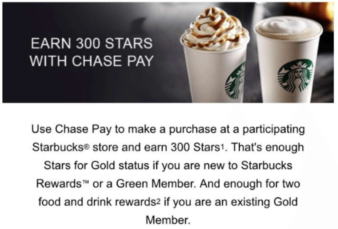 Get 300 Stars when you use Chase Pay