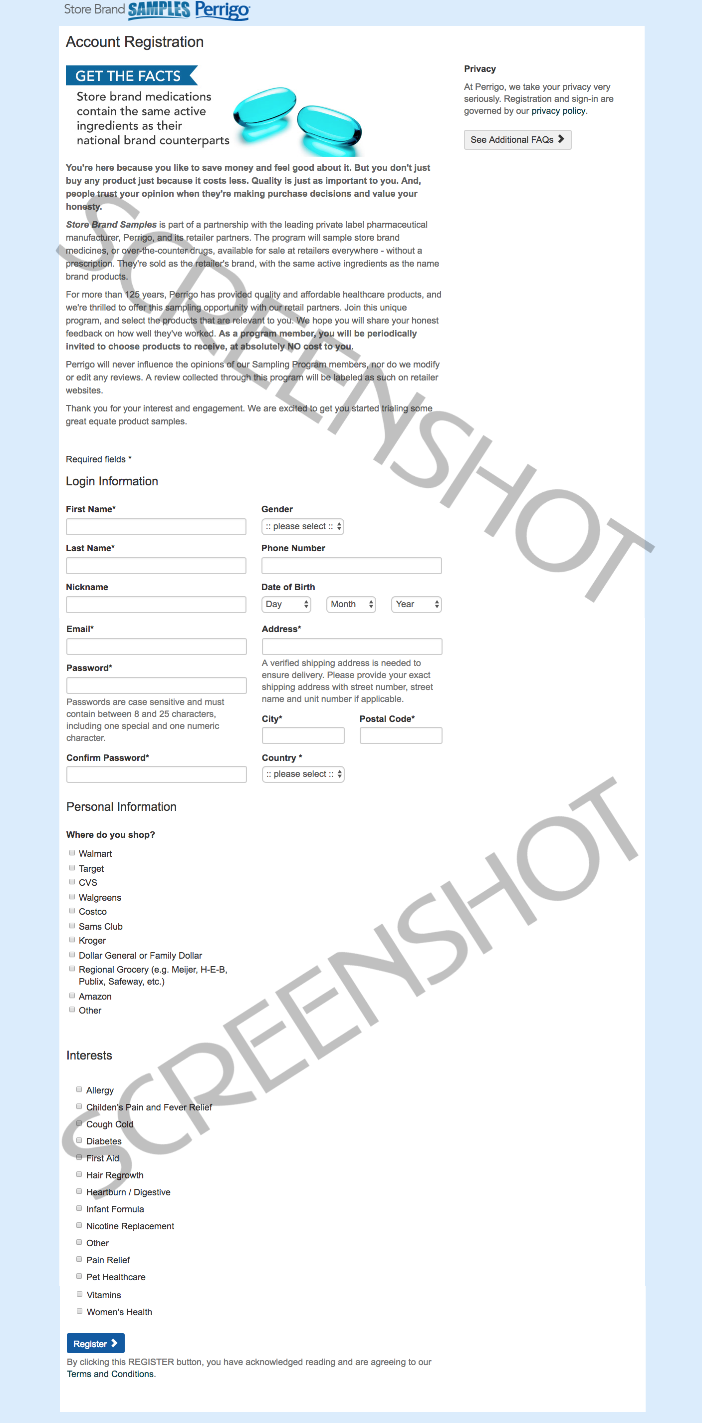 Screenshot of FREE Sample Request Form Page