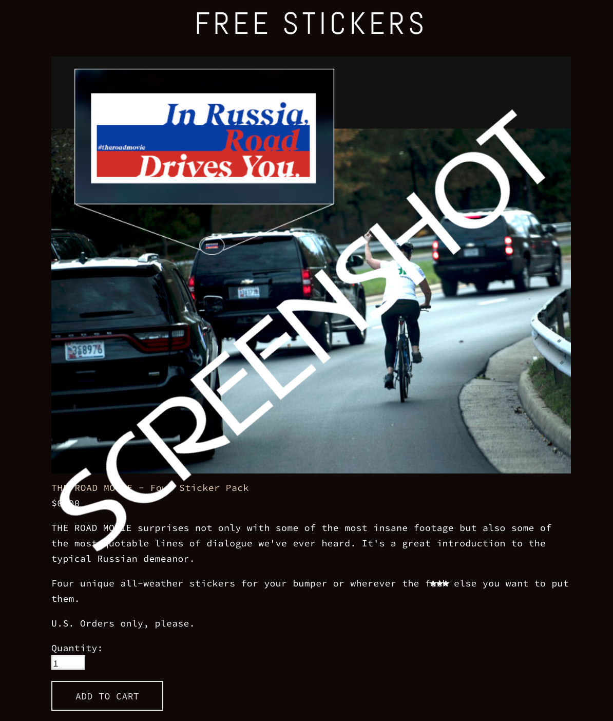 Screenshot of FREE 'In Russia, Road Drives You' Stickers Offer