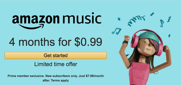 4 Months of Amazon Music Unlimited $0.99
