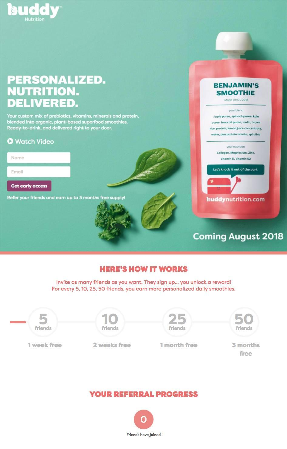 FREE Buddy Nutrition Personalized Smoothies
