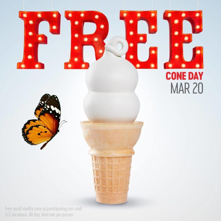 Free Cone Day at Dairy Queen on 3/20
