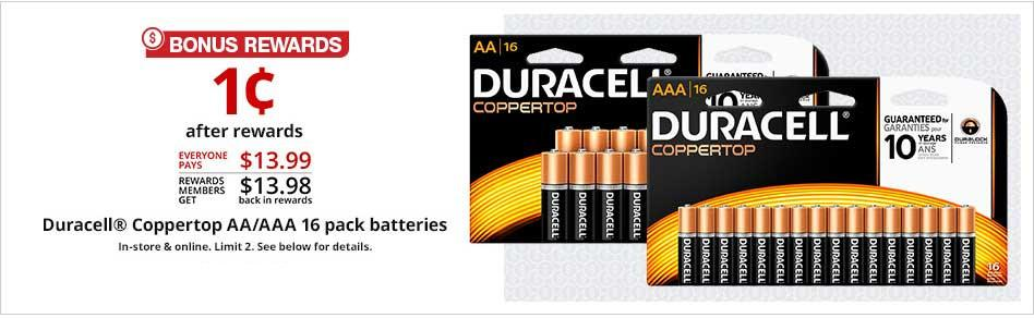 16-Pack of Duracell Batteries ONLY 1¢