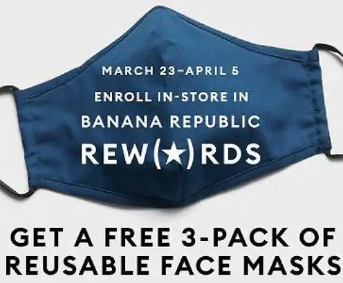Free 3-Pack Reusable Face Masks at Banana Republic (In-Store Only)