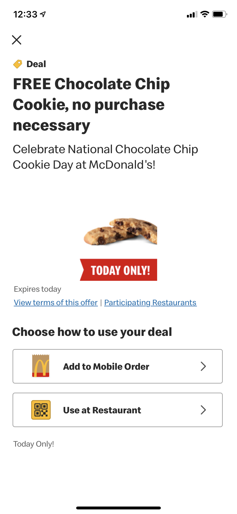 App Offer for a FREE Chocolate Chip Cookie at McDonald's TODAY