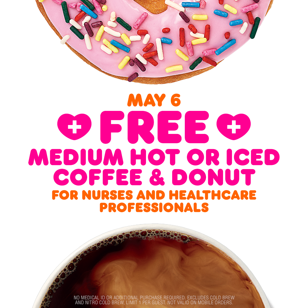 Free Dunkin' Coffee and Donut for Healthcare Workers on May 6th