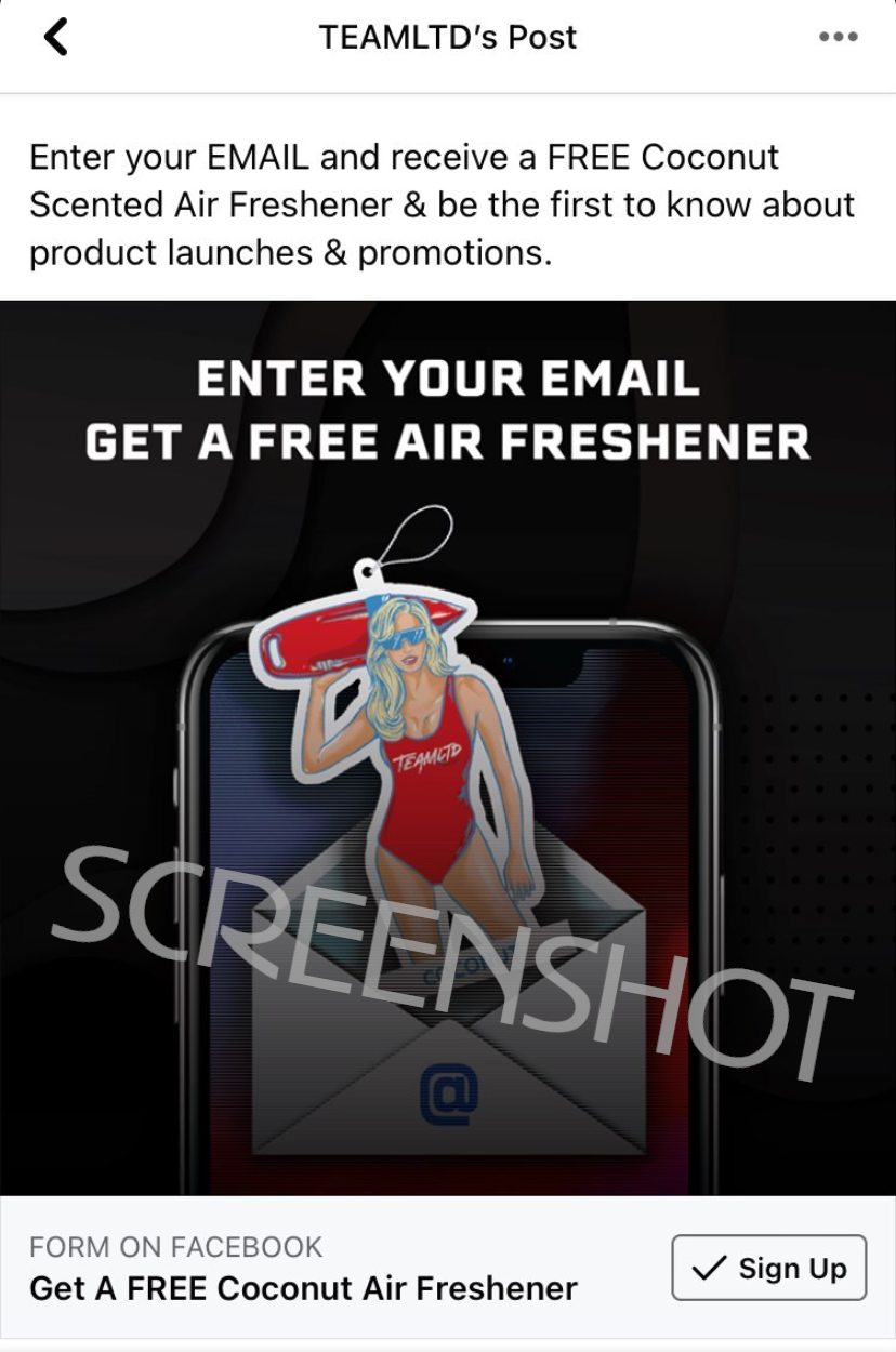 Sponsored Facebook Ad for FREE Air Freshener