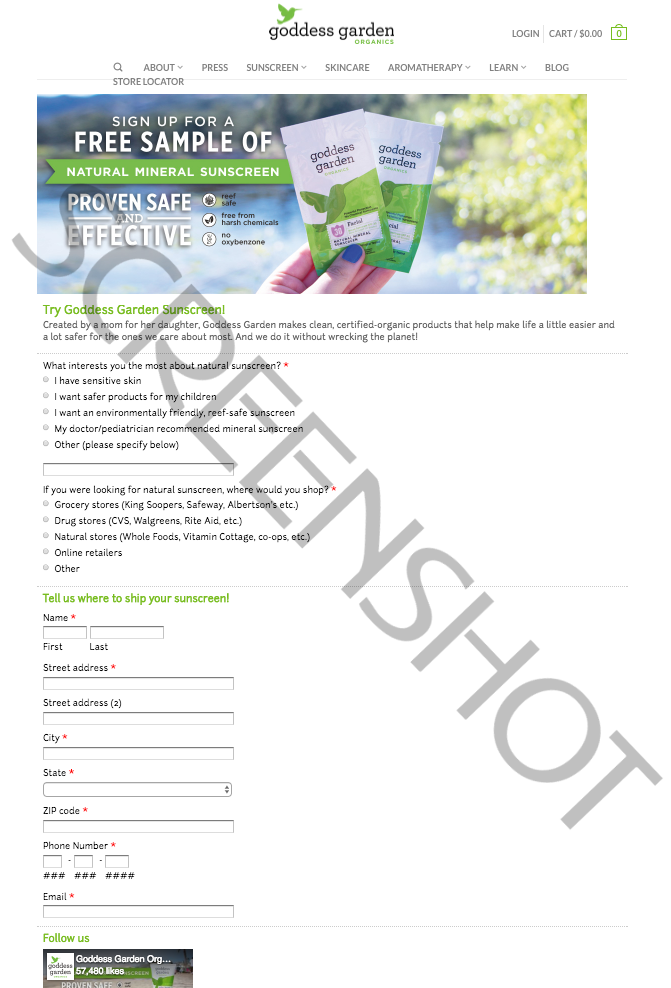 FREE Offer Request Page/Form Screenshot