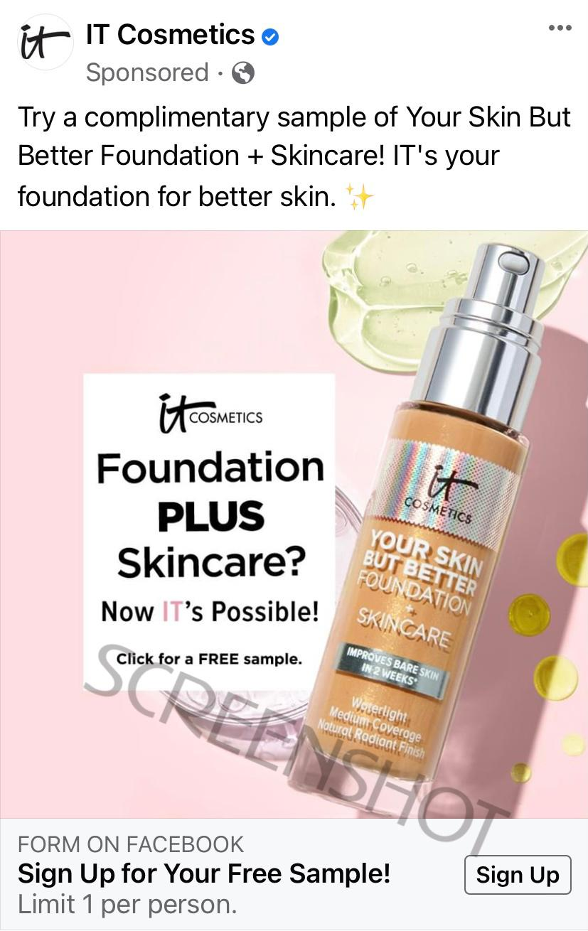 it-cosmetics-sponsored-ad-for-free-foundation-sample