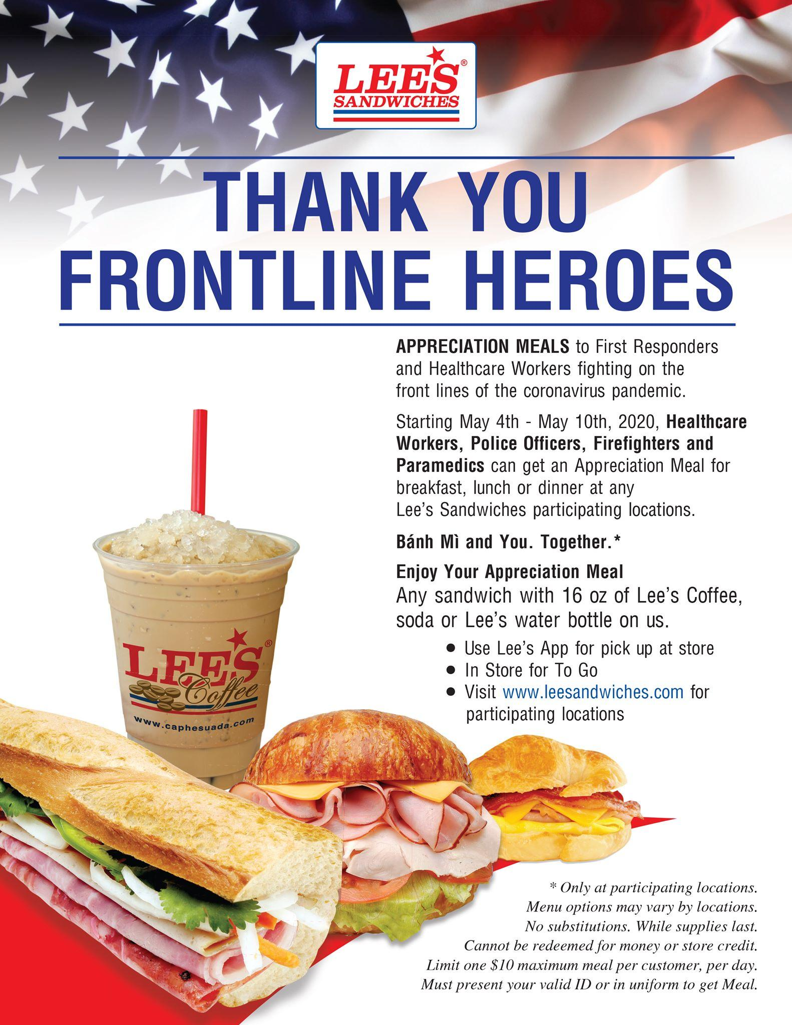 FREE Appreciation Meal at Lee's Sandwiches for First Responders and Healthcare Workers