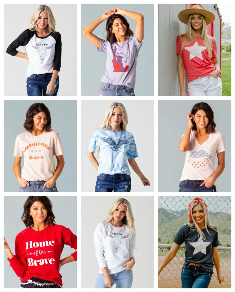 Red White & Blue Summer Graphic Tees starting at $16.99