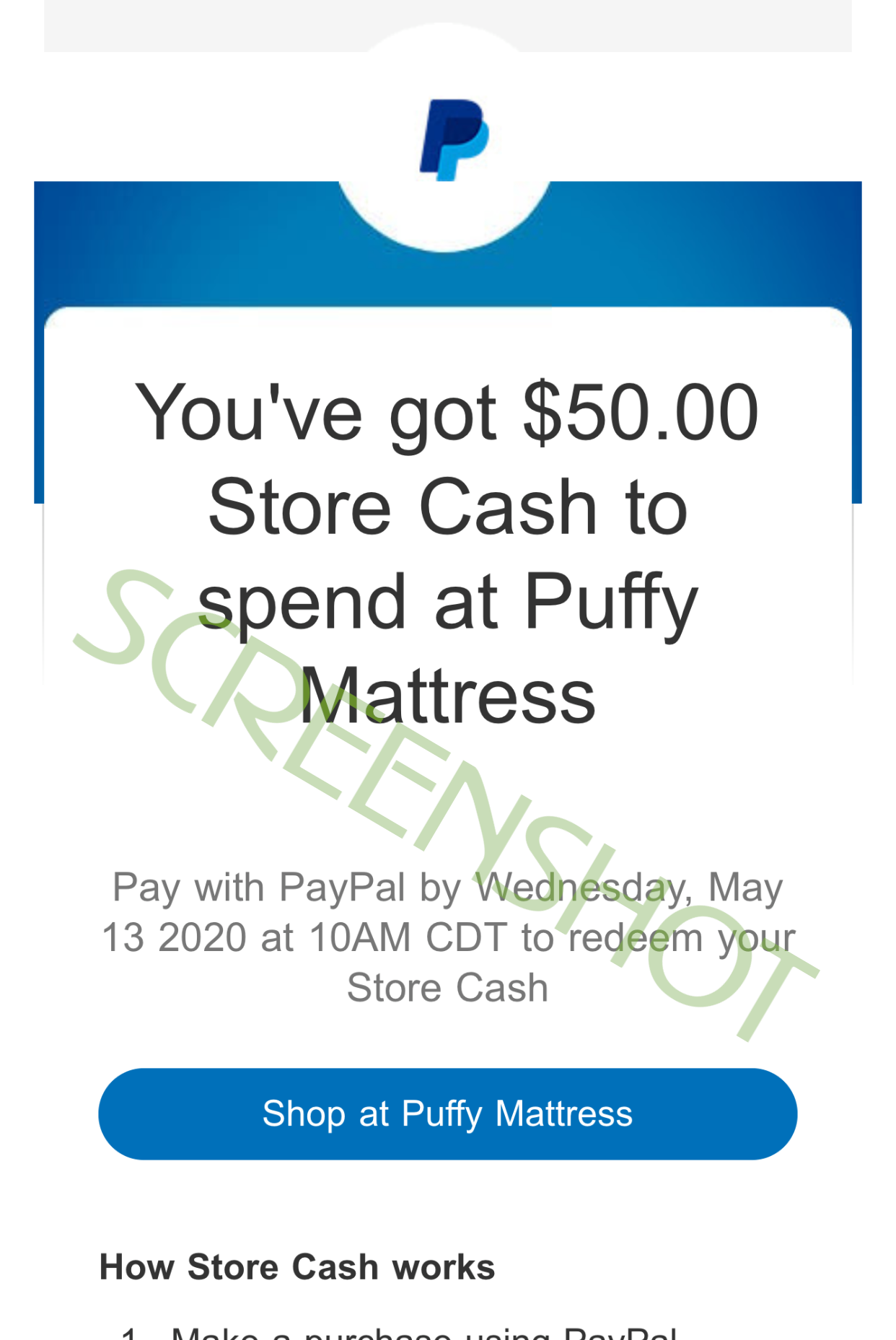 You've got $50.00 Store Cash to spend at Puffy Mattress Email from PayPal