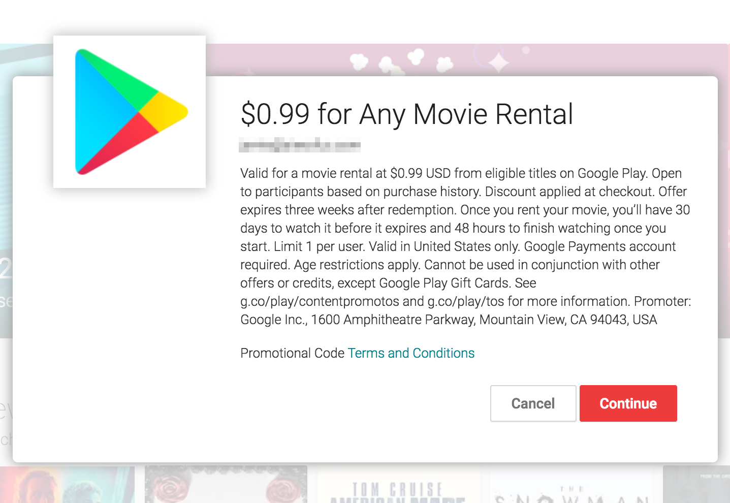 $0.99 for Any Movie Rental