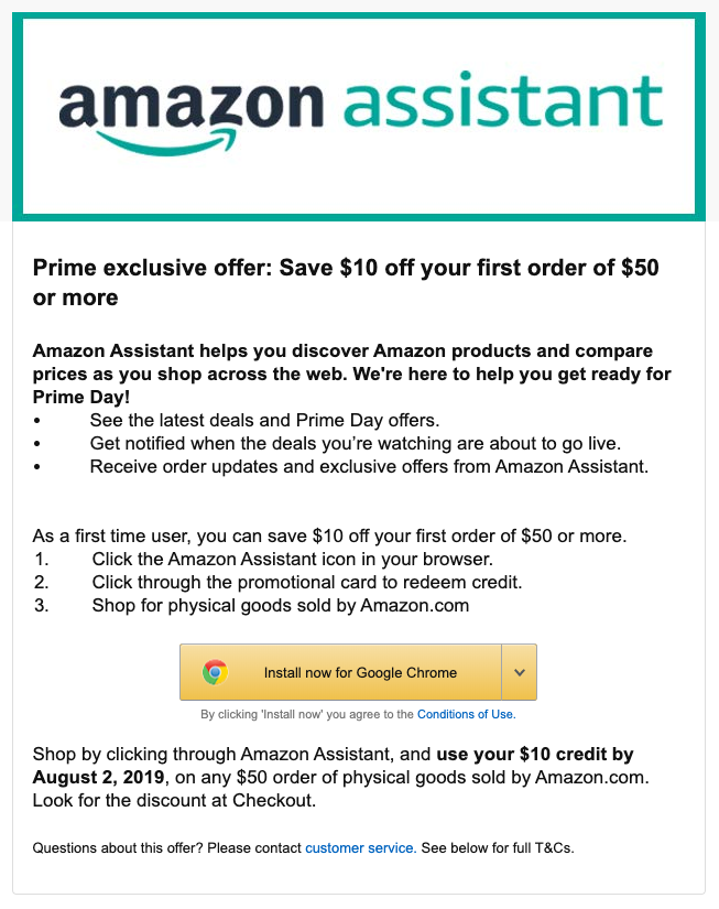 Prime Members: $10 Off $50 Purchase w/ Amazon Assistant Browser Extension