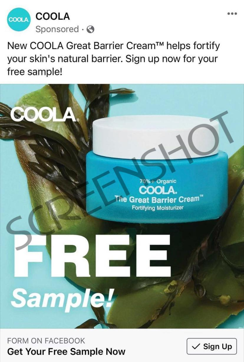 Possible Free COOLA Great Barrier Cream Sample on Facebook