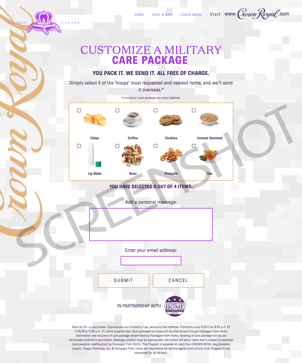 Send a FREE Crown Royal Bag Military Care Package to the Troops