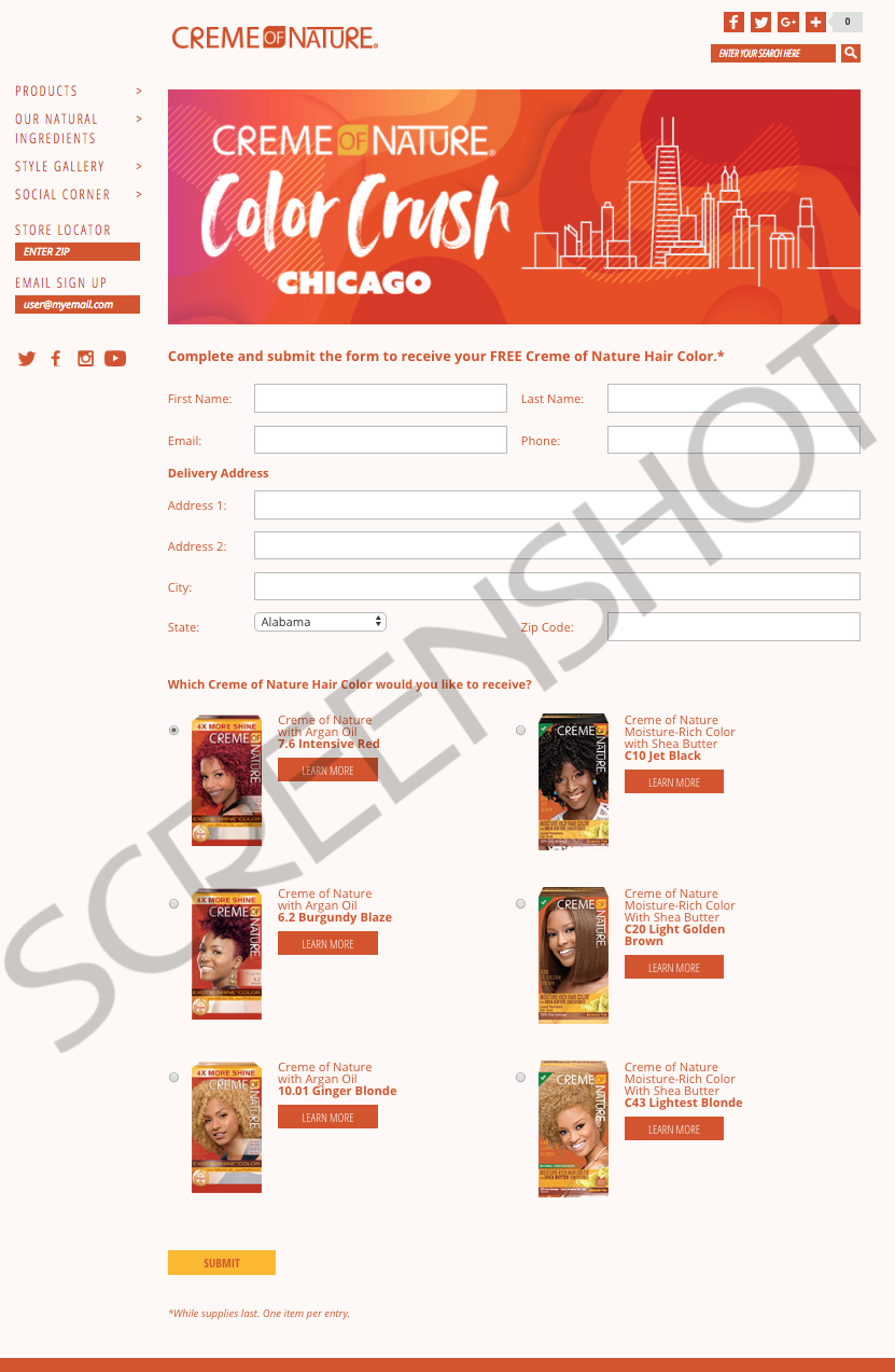 Screenshot of FREE Sample Offer