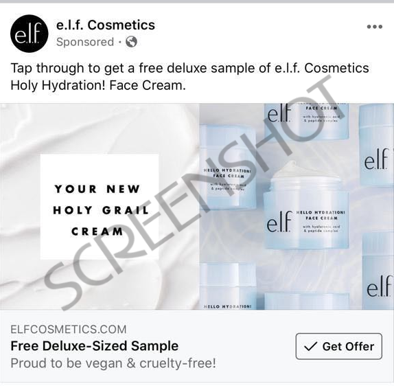 Sponsored ad on Facebook for free deluxe sample of e.l.f. Cosmetics Holy Hydration Face Cream
