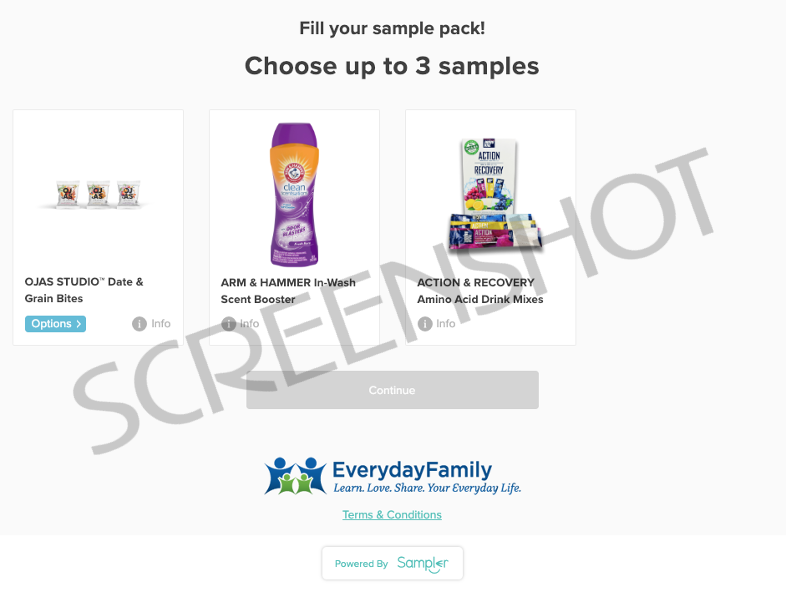 Screenshot of FREE Sampler Offers from Everyday Mom Club