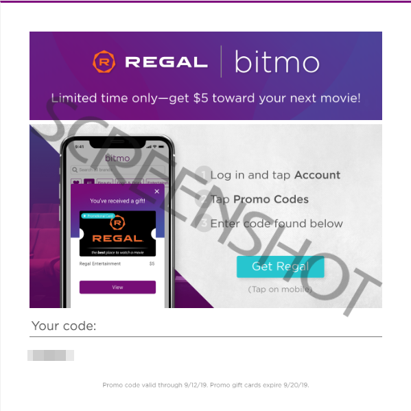 FREE $5 Regal Gift Card Email Offer