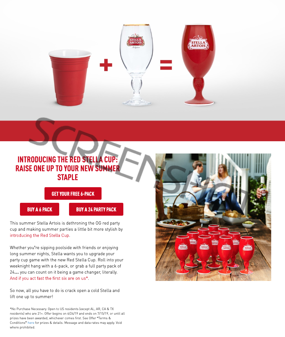 FREE 6-Pack of Stella Artois Red Cups