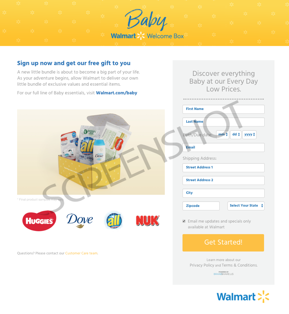 Screenshot of FREE Baby Box Request Form