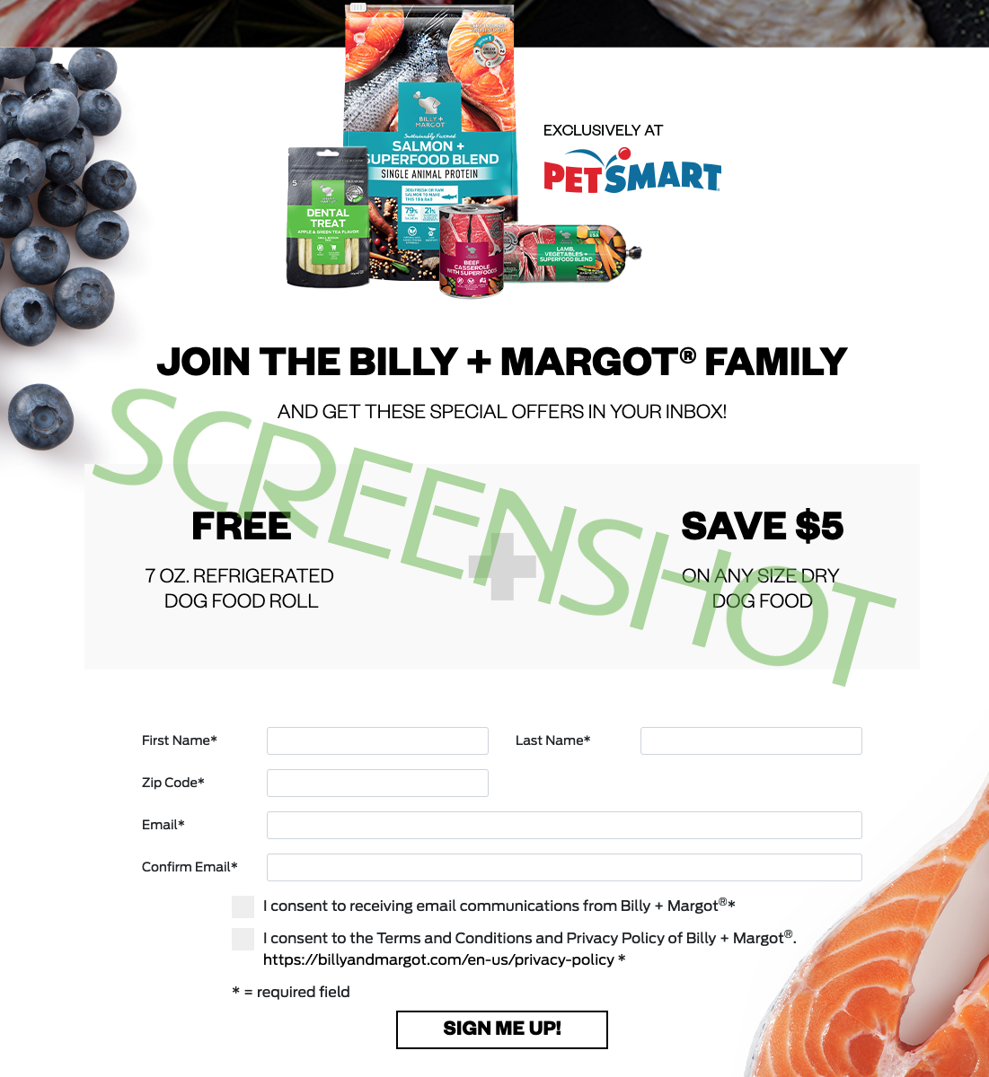 Screenshot of FREE 7 oz Refrigerated Dog Food Roll coupon offer on the Billy + Margot  website