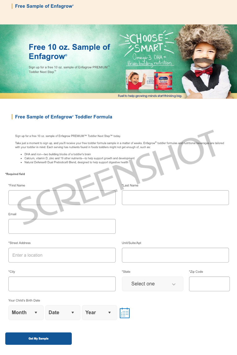 Screenshot of Free Sample Offer from Enfagrow