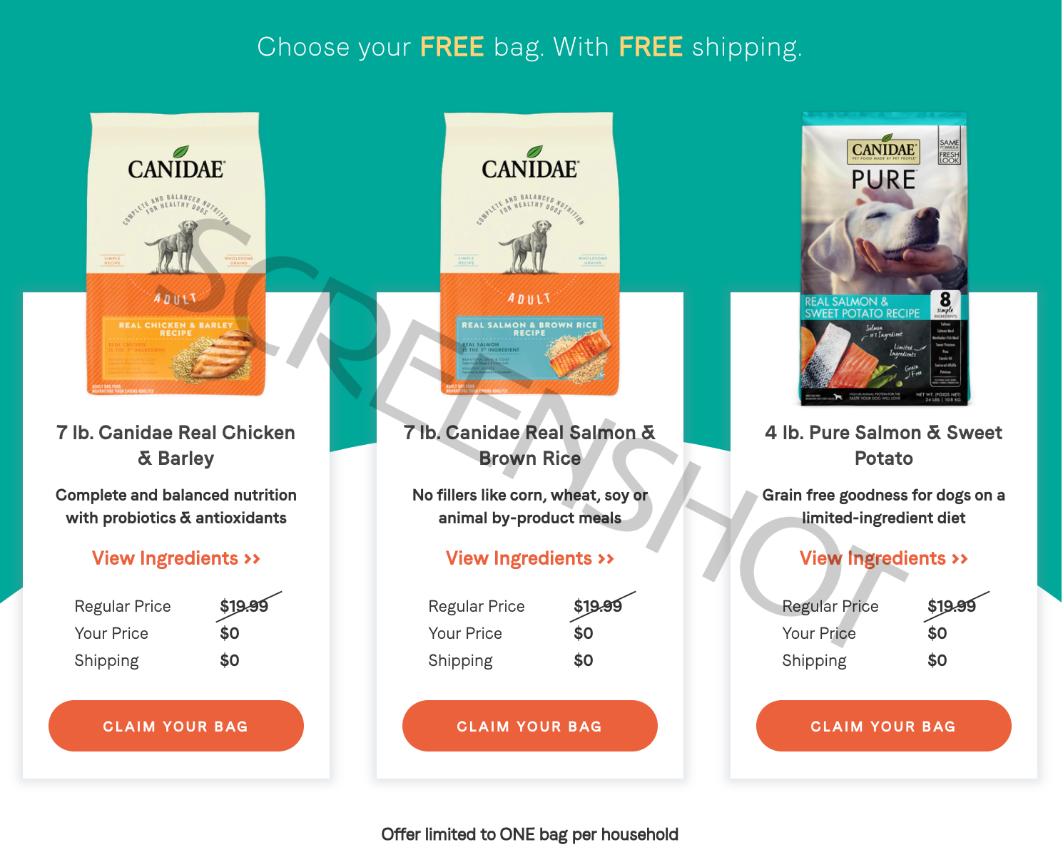 FREE 7 lb. bag of CANIDAE Dog Food + FREE Shipping