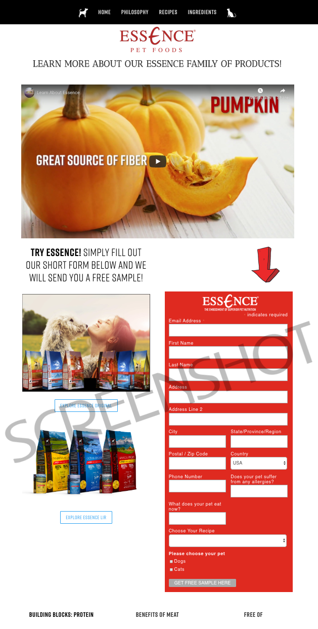 Screenshot of FREE Essence Pet Food Sample offer page