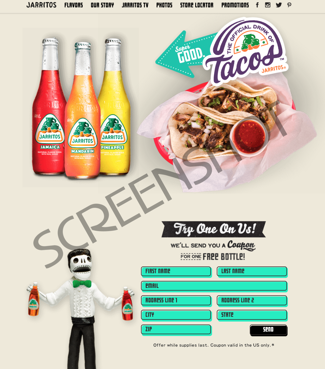 FREE bottle of Jarritos Natural Flavor Soda Mailed Product Coupon