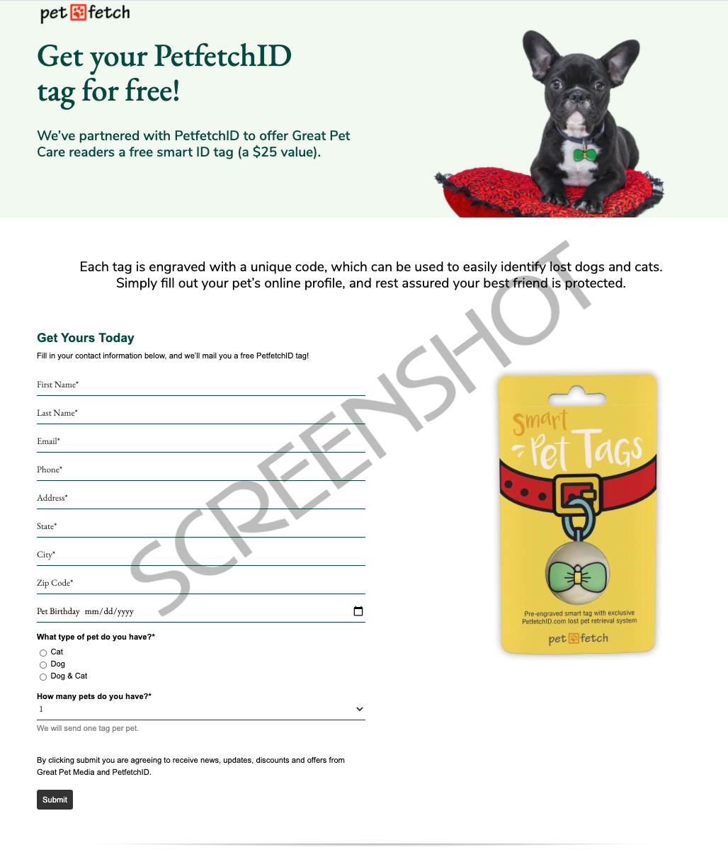 FREE Smart ID Tag for Pets