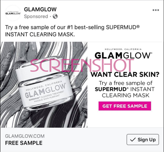 Screenshot of Sponsored Ad for Free SUPERMUD INSTANT CLEARING Mask Sample