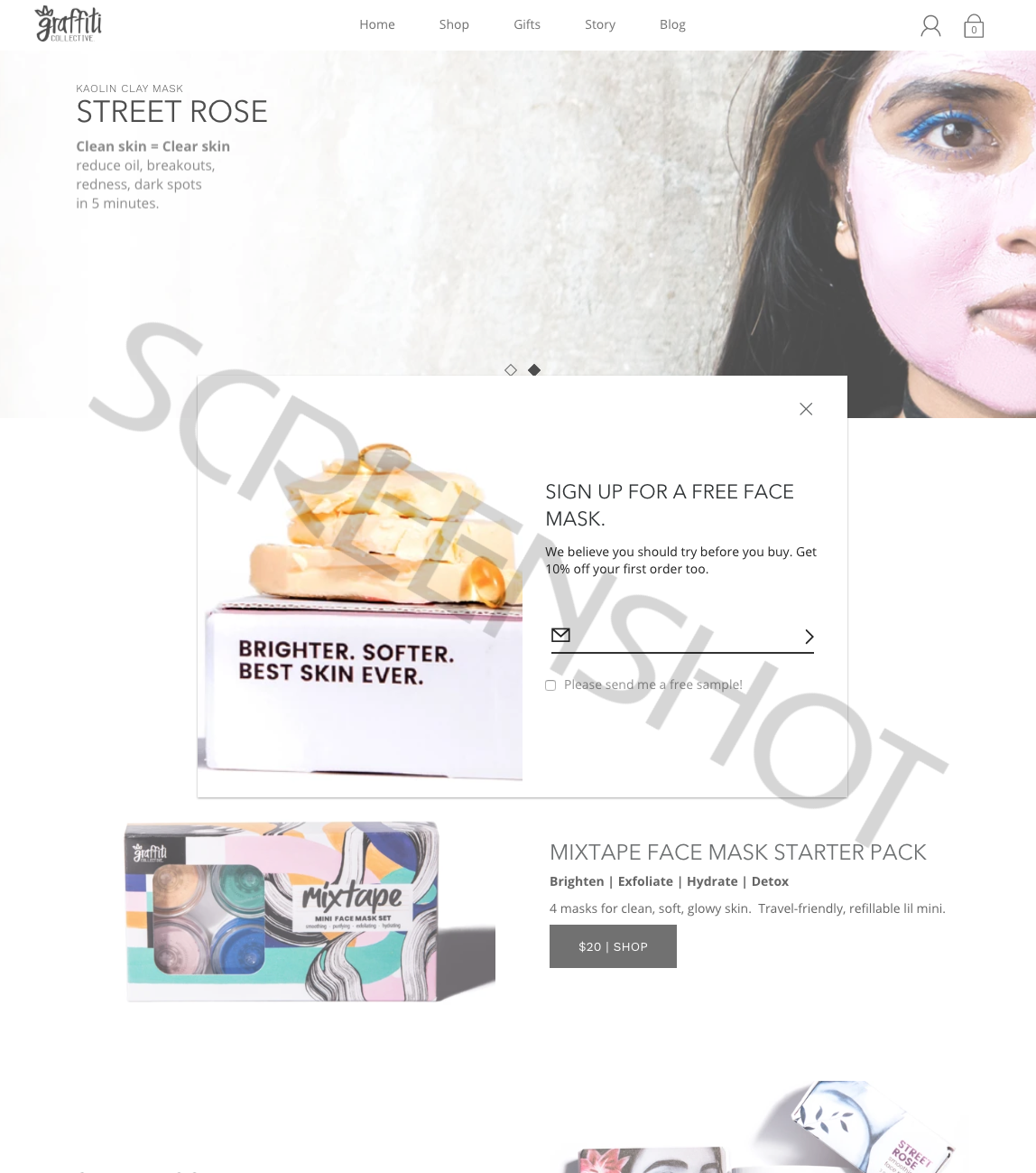 Screenshot of free sample offer (check the box)