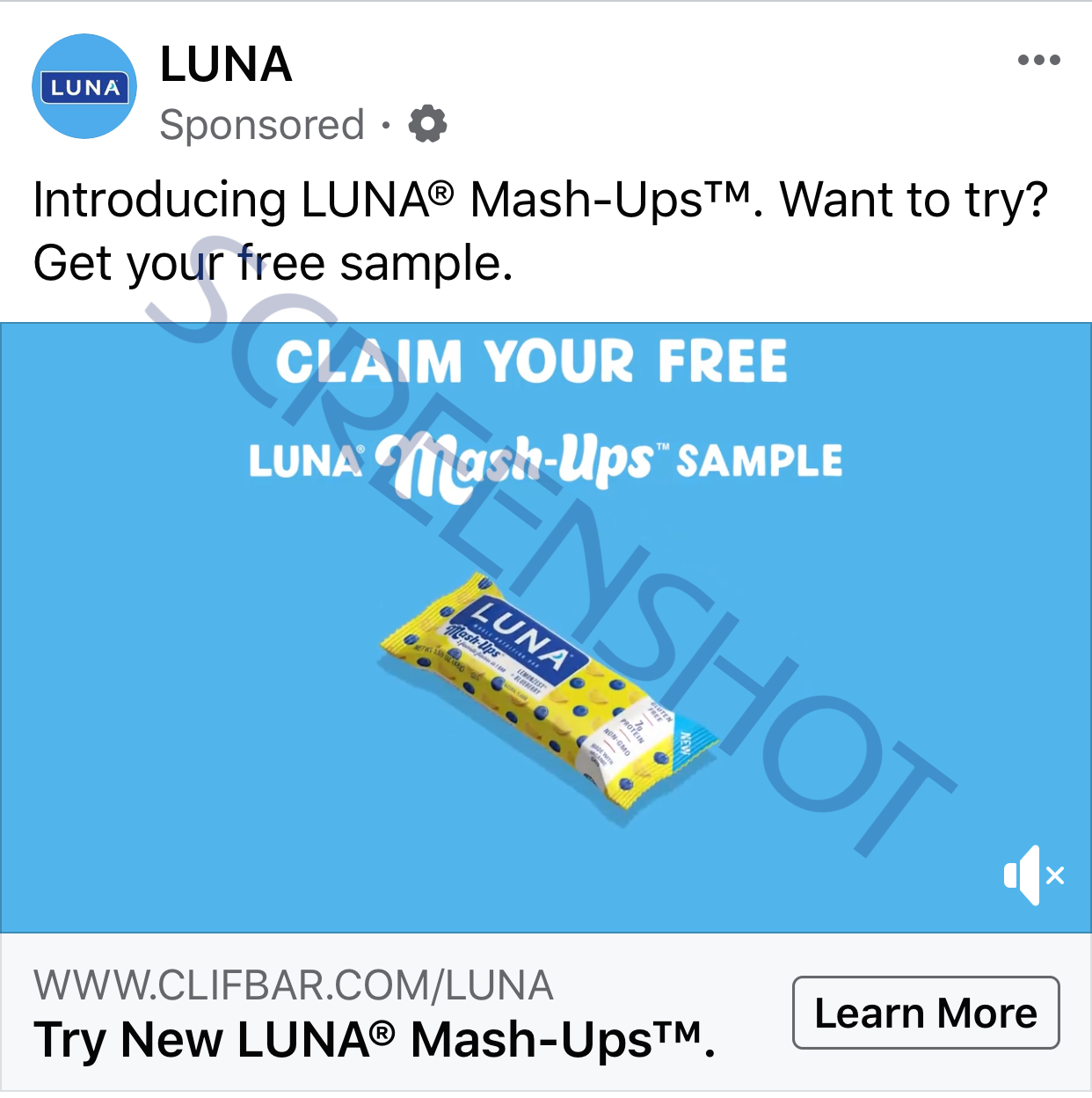 FREE LUNA Mash-Ups Bar Sponsored Ad on Facebook