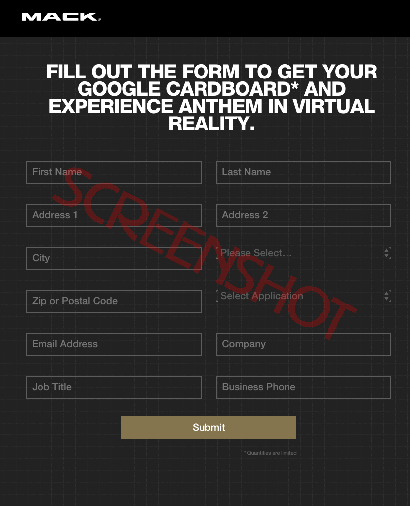 Screenshot of Free VR Viewer Request Form