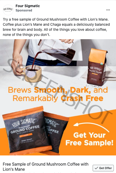 Sponsored ad on Facebook for a FREE Four Sigmatic Ground Mushroom Coffee Sample
