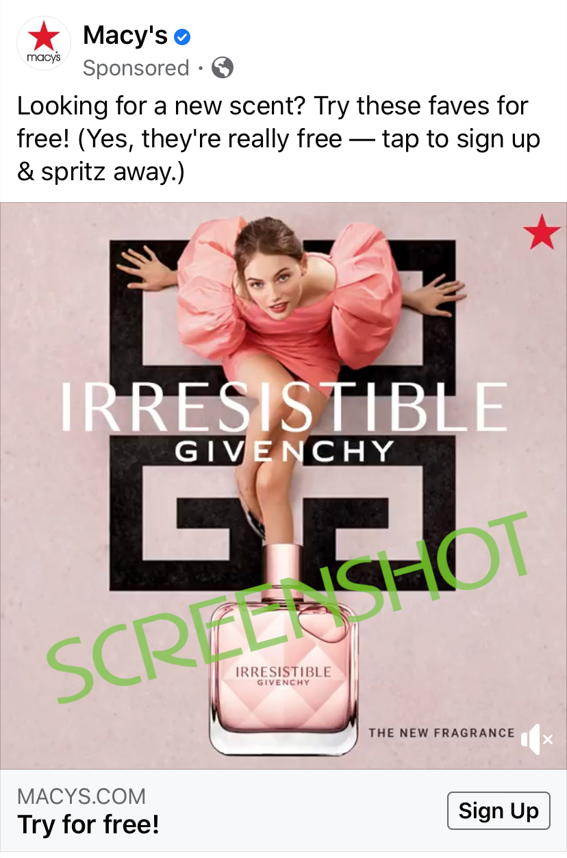 Screenshot of Sponsored ad for FREE Deluxe Fragrance Samples from Macy's
