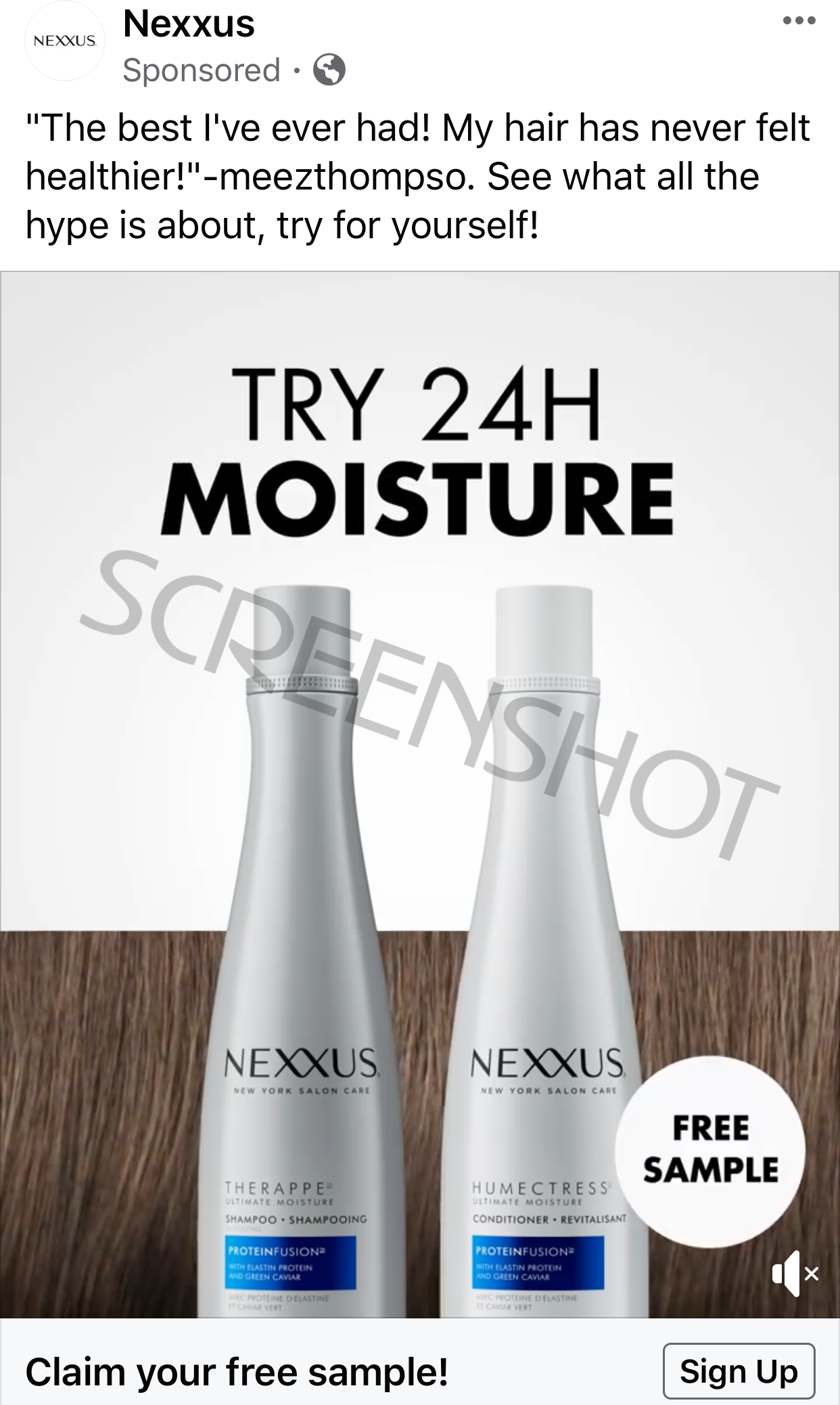 Screenshot of Sponsored Ad for Free NEXXUS Shampoo and Conditioner Samples