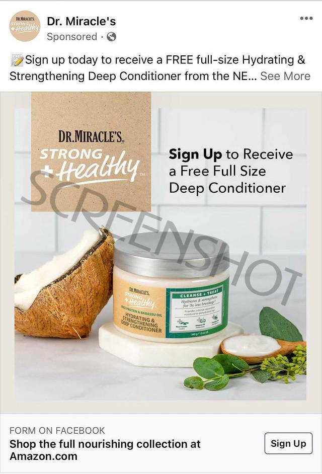 Possible Free Dr. Miracle's Full Size Deep Conditioner on Facebook