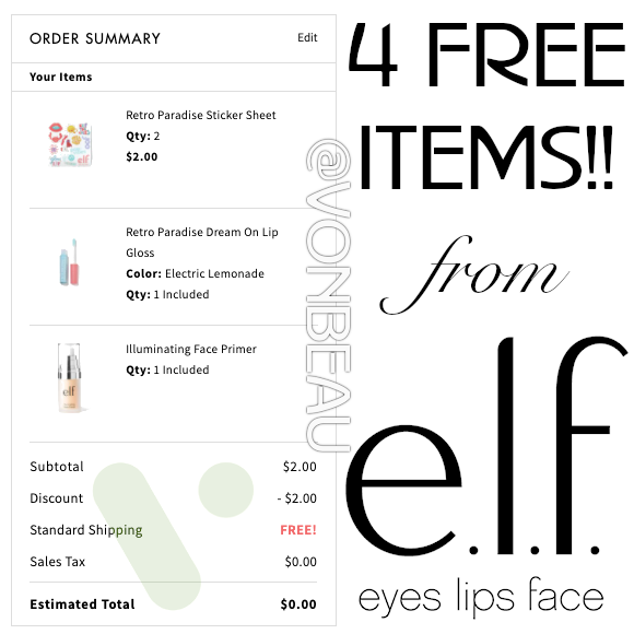 4 FREE e.l.f. Cosmetics Products Shipped