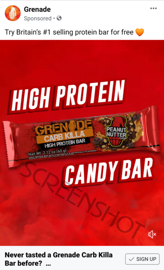 Sponsored ad for Free Protein Bar