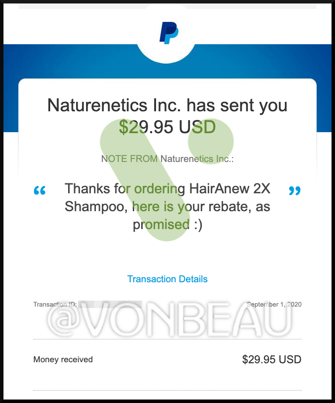screenshot-of-paypal-rebate-payment-for-hairanew