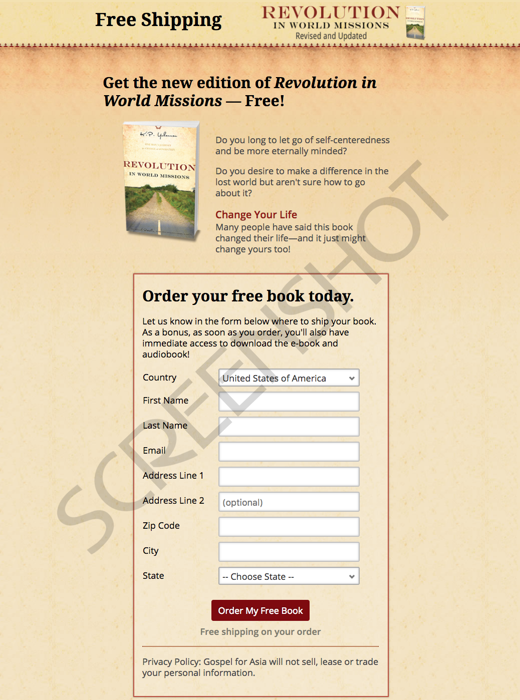 Screenshot of FREE Offer Request Form Page on Company's website